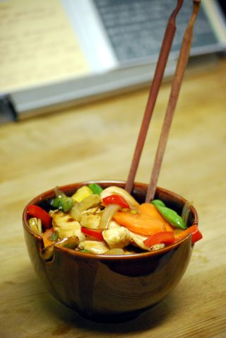chopsticks cashew chicken crate and barrel bowl