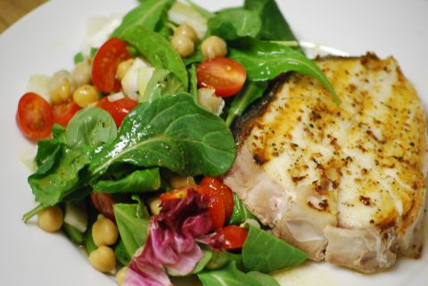 halibut and chickpea salad