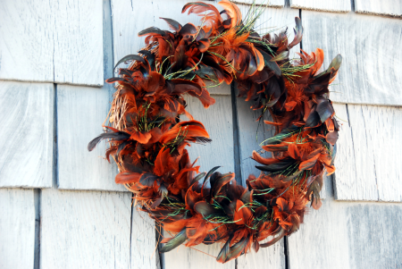 feather wreath Halloween craft