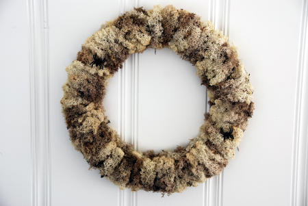 bleached moss wreath Halloween craft