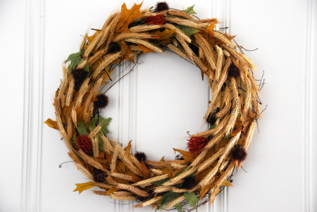 golden wheat grapevine wreath leaf craft