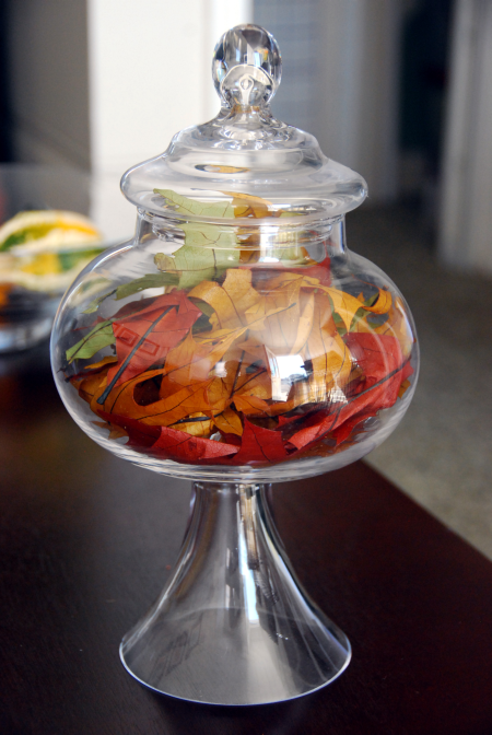 glass apothecary jar leaf filler craft home decoration