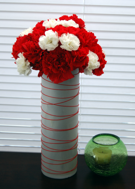 carnation bouquet christmas craft vellum wrapped vase