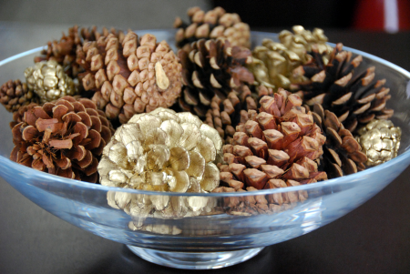 pinecones in glass bowl decorating craft