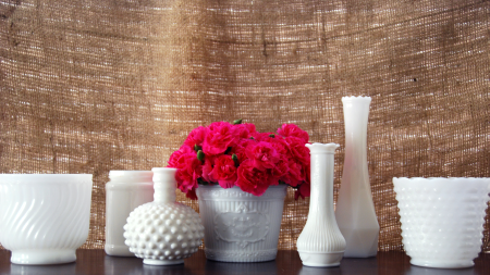 milk glass vase thrifty cheap decoration  decor flowers