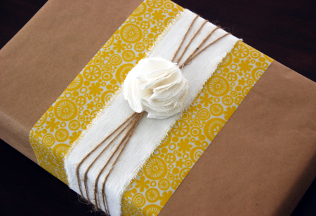 Kraft paper & scrap fabric wrapping from The Thrifty Crafter