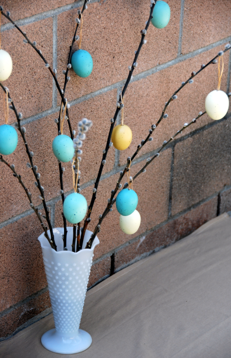 easter egg tree centerpiece craft robin's egg blue milk glass vase decoration