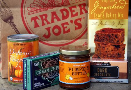 chocolate gingerbread cupcake pumpkin cream cheese frosting fall flavors cupcake recipe Trader Joe's