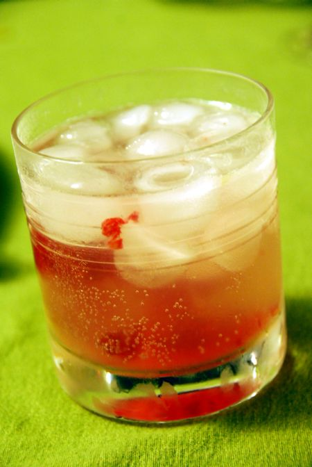raspberry rose Hendrick's gin rickey bon appetit holiday libation cocktail drink recipe