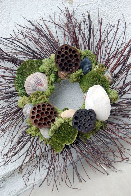 seashell wreath lotus pods reindeer moss natural craft project spring summer